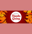 autumn thanksgiving day concept banner cartoon vector image