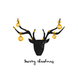 Black deer head gold foil baubles greeting card