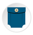 blue shirt pocket with button icon circle vector image