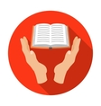 Book donation icon in flat style isolated on white vector image vector image
