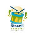 brazilcarnival logo design bright festive party vector image vector image