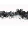 busan skyline in black watercolor on white vector image