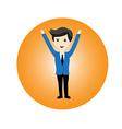 Businessman feel happy vector image