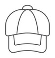 cap thin line icon clothing and casual hat sign vector image
