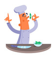 Cartoon chef smelling the fresh herbs vector image vector image