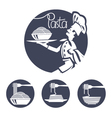 chef icons with dish of pasta vector image vector image
