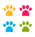 Cute colorful Doggie Paws isolated on white vector image