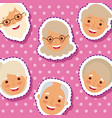 cute elderly faces man and woman smiling patches vector image
