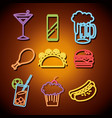 fast food and drinks with neon lights icons vector image