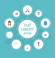 flat icons cotton buds looking-glass shears and vector image vector image