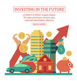 flat investing in the future poster vector image vector image