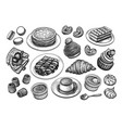 french desserts and pastries big set vector image vector image