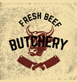 fresh beef butchery hand drawn cow head on grunge vector image vector image