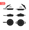 frying pans set of pan icon simple filled pan vector image
