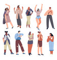 gesturing people cheering and positive signs vector image