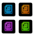 glowing neon wav file document icon download wav vector image vector image