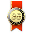 gold medal with date 35 and red ribbon vector image vector image