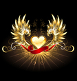 Golden heart with golden wings vector image vector image