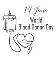 hand draw blood donor day style vector image vector image