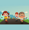 happy kids biking on the street vector image
