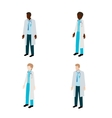 Isometric doctor character set vector image vector image