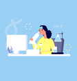 laboratory concept sciensist with microscope vector image vector image