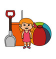 little girl with sand bucket and balloon vector image