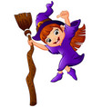 little witch cartoon holding broom and giving thum vector image vector image