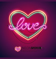 love heart colorful neon sign vector image