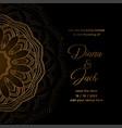 luxury wedding card in golden mandala style art vector image vector image