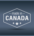 made in canada hexagonal white vintage label vector image vector image