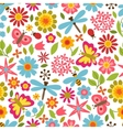 natural pattern with beautiful flowers beetles vector image