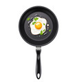 pan with fried egg cooking vector image vector image