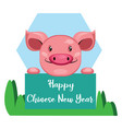 pig wishes you happy chinese new year on white vector image