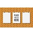 poster mock up on brick wall vector image vector image