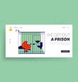 prisoner in prison lifestyle website landing page vector image vector image