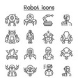 robot ai icon set in thin line style vector image vector image