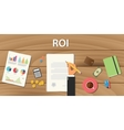 roi return on investment concept with hand work vector image vector image