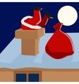 Santa Claus climbs down the chimney cartoon vector image vector image