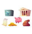saving money cartoon icon piggy bank safe deposit vector image vector image