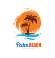 seascape with palm trees on island and ocean vector image vector image