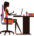 Silhouette of woman working on laptop vector image