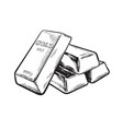 sketch gold bar ingots black and white vector image vector image