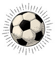 soccer ball with ray engraving vintage vector image vector image