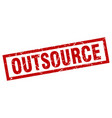 Square grunge red outsource stamp