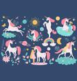 unicorn magical horse fantasy animal and girl vector image