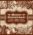 vintage merry christmas card brown vector image vector image