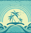 Vintage seascape with tropical palmsNature image vector image vector image