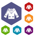wedding groom suit icons hexahedron vector image vector image