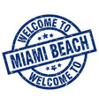 welcome to miami beach blue stamp vector image vector image